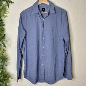 🌳 Gap Button Down Dress Shirt Blue Check Cotton M
